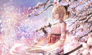 Rating: Safe Score: 52 Tags: fate/grand_order japanese_clothes sakura_saber sishenfan sword User: charunetra