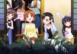 Rating: Questionable Score: 13 Tags: akiyama_yukari animal_ears bunny_ears bunny_girl cleavage girls_und_panzer nishi_kinuyo nishizumi_miho reizei_mako thighhighs User: drop
