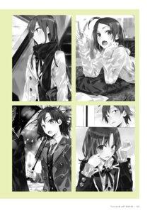 Rating: Safe Score: 5 Tags: monochrome ponkan_8 seifuku umbrella yahari_ore_no_seishun_lovecome_wa_machigatteiru. User: fireattack