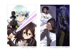 Rating: Safe Score: 35 Tags: armor cleavage gun hagiwara_hiromitsu kirito megane seifuku shimeji_(artist) shino_asada sinon sword sword_art_online User: drop