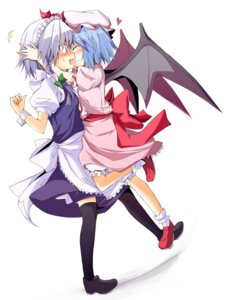 Rating: Safe Score: 7 Tags: huei_naduki izayoi_sakuya remilia_scarlet thighhighs touhou wings User: fairyren