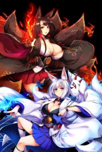 Rating: Safe Score: 23 Tags: akagi_(azur_lane) animal_ears azur_lane cleavage japanese_clothes kaga_(azur_lane) kitsune ouma_tokiichi tail User: Mr_GT