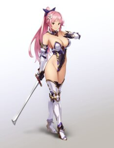 Rating: Safe Score: 56 Tags: armor cleavage heels houtengeki leotard no_bra sword thighhighs User: HotdogStorm