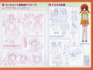 Rating: Safe Score: 6 Tags: akihime_sumomo bleed_through character_design ibe_yukiko kimono koiwai_flora maid monochrome nanatsuiro_drops pajama thighhighs yuki-chan User: Measure