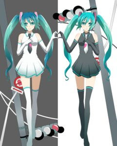 Rating: Safe Score: 11 Tags: hatsune_miku sumomoringo thighhighs ura-omote_lovers_(vocaloid) vocaloid User: charunetra
