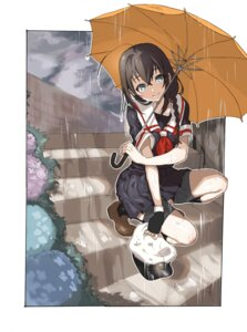 Rating: Safe Score: 24 Tags: amaneku kantai_collection seifuku shigure_(kancolle) umbrella User: animeprincess