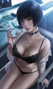 Rating: Questionable Score: 42 Tags: bra cleavage dress_shirt megane open_shirt pantsu persona_5 takemi_tae wickellia User: Darkthought75
