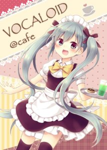 Rating: Safe Score: 21 Tags: amene_kurumi hatsune_miku thighhighs vocaloid waitress User: fairyren