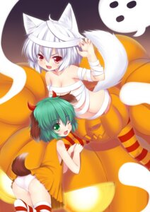 Rating: Questionable Score: 26 Tags: animal_ears bandages halloween inubashiri_momiji kasodani_kyouko loli ookami_ryuu pantsu tail thighhighs touhou User: Mr_GT