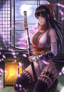 Rating: Safe Score: 69 Tags: cleavage fishnets japanese_clothes ninja sword thighhighs weapon yazuo User: mash