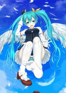 Rating: Questionable Score: 52 Tags: feet flan_(seeyouflan) hatsune_miku heels pantsu shimapan thighhighs vocaloid wings User: Mr_GT