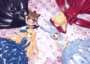 Rating: Safe Score: 45 Tags: alice alice_in_wonderland animal_ears bunny_ears cheshire_cat dress fancy_fantasia march_hare nekomimi queen_of_hearts ueda_ryou User: Chrissues