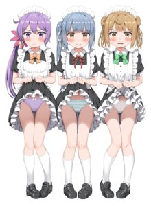Rating: Questionable Score: 85 Tags: akebono_(kancolle) kantai_collection kasumi_(kancolle) loli maid michishio_(kancolle) nedia_r pantsu shimapan skirt_lift User: Mr_GT
