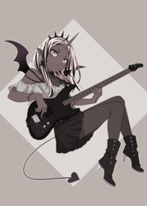 Rating: Safe Score: 16 Tags: dress fishnets guitar heels horns pantyhose pointy_ears see_through tail westxost_(68monkey) wings User: charunetra