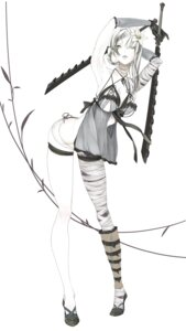 Rating: Safe Score: 52 Tags: bandages cleavage dress kaine_(nier) nier pantsu roe sword User: blacktarprophecy