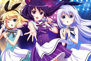 Rating: Safe Score: 95 Tags: dress gochuumon_wa_usagi_desu_ka? ijuuin_izuro kafuu_chino kirima_sharo tedeza_rize User: drop