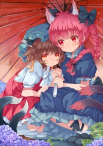 Rating: Safe Score: 30 Tags: animal_ears chen japa kaenbyou_rin tail touhou umbrella User: Mr_GT