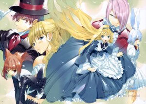 Rating: Safe Score: 23 Tags: alice alice_in_wonderland animal_ears bunny_ears cheshire_cat dress fancy_fantasia mad_hatter march_hare nekomimi queen_of_hearts ueda_ryou User: Chrissues