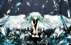 Rating: Safe Score: 32 Tags: aonoe dress hatsune_miku thighhighs vocaloid wings User: charunetra