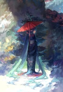 Rating: Safe Score: 40 Tags: hatsune_miku kimono tang_elen umbrella vocaloid wet User: charunetra
