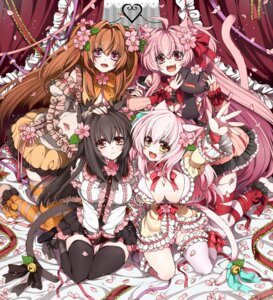Rating: Questionable Score: 32 Tags: animal_ears cassini_m_bisuko cleavage komomo mia_flatpaddy nekomimi nopan shia_flatpaddy tail takatsuki_ichi thighhighs User: blooregardo