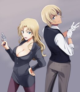 Rating: Safe Score: 10 Tags: adope amuro_toru business_suit cleavage detective_conan gun no_bra pantyhose vermouth User: charunetra