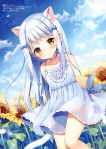 Rating: Safe Score: 40 Tags: animal_ears dress mauve nekomimi see_through skirt_lift summer_dress tail User: kiyoe