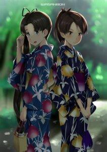 Rating: Safe Score: 10 Tags: ayanami_(kancolle) kantai_collection shikinami_(kancolle) wa_(genryusui) yukata User: Spidey