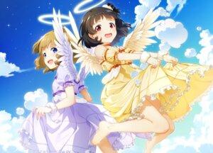 Rating: Safe Score: 22 Tags: angel dress mikapoe nakatani_iku skirt_lift suou_momoko the_idolm@ster the_idolm@ster_million_live! wings User: Mr_GT