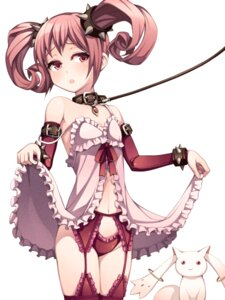 Rating: Questionable Score: 62 Tags: bondage garter_belt kaname_madoka kyubey lingerie loli pantsu puella_magi_madoka_magica skirt_lift stockings thighhighs torigoe_takumi User: blooregardo