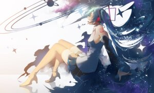 Rating: Safe Score: 29 Tags: hatsune_miku headphones heels saihate tattoo thighhighs vocaloid User: BattlequeenYume