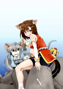 Rating: Safe Score: 6 Tags: animal_ears bike_shorts chen nazrin phenne tail toramaru_shou touhou User: Mr_GT