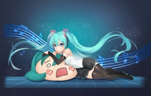 Rating: Safe Score: 35 Tags: hatsune_miku headphones hpb8642 tattoo thighhighs vocaloid User: Dreista