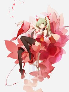Rating: Safe Score: 63 Tags: cleavage hatsune_miku headphones heels no_bra red_flowers thighhighs vocaloid User: Mr_GT