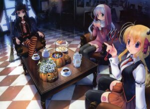 Rating: Safe Score: 46 Tags: august fortune_arterial horns kuze_kiriha sendou_erika tougi_shiro witch yuuro User: crim