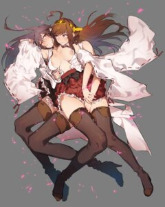 Rating: Questionable Score: 64 Tags: areola gyarin haruna_(kancolle) heels kantai_collection kongou_(kancolle) no_bra open_shirt thighhighs yuri User: nphuongsun93