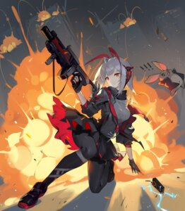 Rating: Safe Score: 28 Tags: arknights fishnets gun helic_(7317helic) horns pantyhose skirt_lift torn_clothes w_(arknights) User: Mr_GT