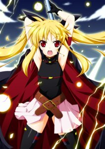 Rating: Safe Score: 24 Tags: fate_testarossa kamisaki_sora mahou_shoujo_lyrical_nanoha thighhighs User: fairyren