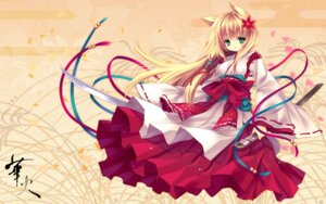 Rating: Safe Score: 27 Tags: animal_ears capura.l i.s.w miko sword wallpaper User: Radioactive