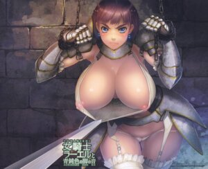Rating: Questionable Score: 56 Tags: areola armor asaki_blog_shucchousho asaki_takayuki bondage breasts cameltoe erect_nipples no_bra open_shirt see_through stockings sword thighhighs thong User: limalama