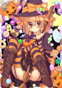 Rating: Questionable Score: 42 Tags: halloween megane pantsu stockings thighhighs witch zazazazazazawa User: 椎名深夏