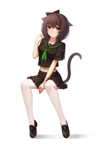 Rating: Safe Score: 25 Tags: animal_ears nekomimi seifuku sonic0_0 tail thighhighs User: Mr_GT