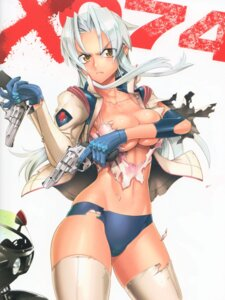 Rating: Questionable Score: 53 Tags: breast_hold cleavage gun inazuma kiba_mikoto thighhighs torn_clothes triage_x User: Radioactive