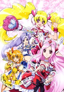 Rating: Safe Score: 8 Tags: aono_miki dress fresh_pretty_cure! higashi_setsuna kamikita_futago momozono_love pretty_cure weapon yamabuki_inori User: drop