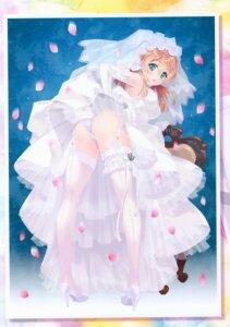Rating: Questionable Score: 104 Tags: ass carnelian dress garter heels kantai_collection pantsu prinz_eugen_(kancolle) skirt_lift stockings thighhighs thong wedding_dress User: Radioactive