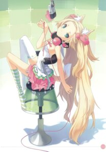 Rating: Safe Score: 77 Tags: animal_ears h2so4 headphones island_of_horizon kitsune tail thighhighs User: Aurelia