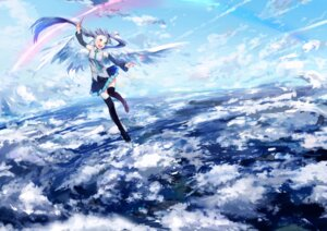 Rating: Safe Score: 30 Tags: hatsune_miku landscape thighhighs ume_(plumblossom) vocaloid wings User: Nekotsúh