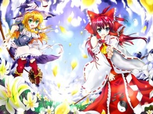 Rating: Safe Score: 4 Tags: hakurei_reimu kal kirisame_marisa touhou wallpaper User: konstargirl