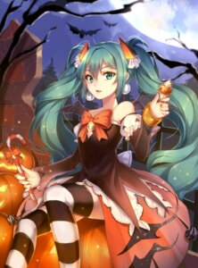 Rating: Safe Score: 64 Tags: dress halloween hatsune_miku qingshui_ai thighhighs vocaloid witch User: Mr_GT
