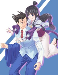 Rating: Safe Score: 9 Tags: 5plus ayasato_mayoi business_suit gyakuten_saiban naruhodou_ryuuichi yukata User: Mr_GT